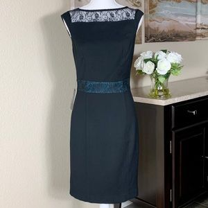 THE LIMITED Black Fitted Midi Dress w/Lace Trim